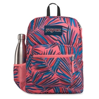 JanSport Cross Town 100% Authentic School Backpack With Front Pocket 13x8.5x17 - OS (Dotted Palm)
