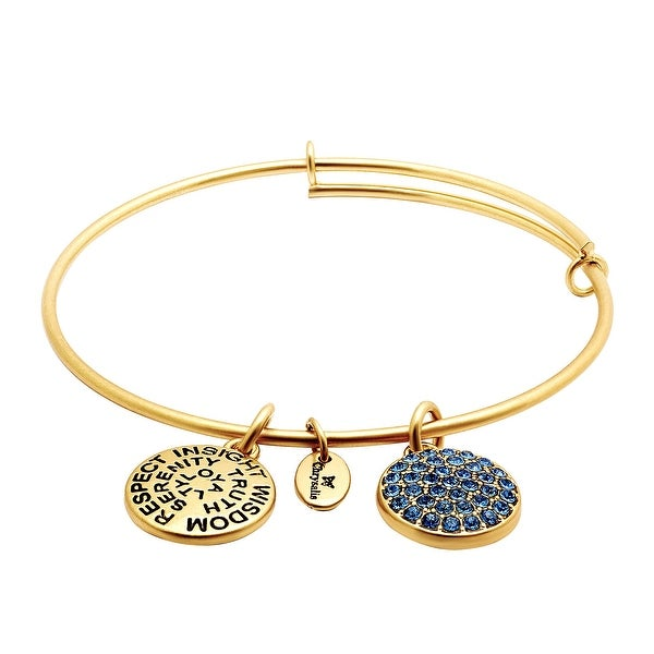 Chrysalis Expandable September Bangle Bracelet with Royal Blue Swarovski Crystals in 14K Gold-Plated Brass