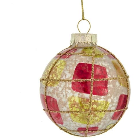 Kurt Adler 80MM Red, Green and Silver Large Checker Glass Ball Ornaments, 6-Piece Set