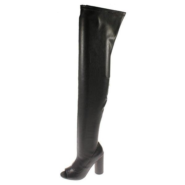 Steve Madden Womens Urban Thigh-High Boots Faux Leather Open Toe