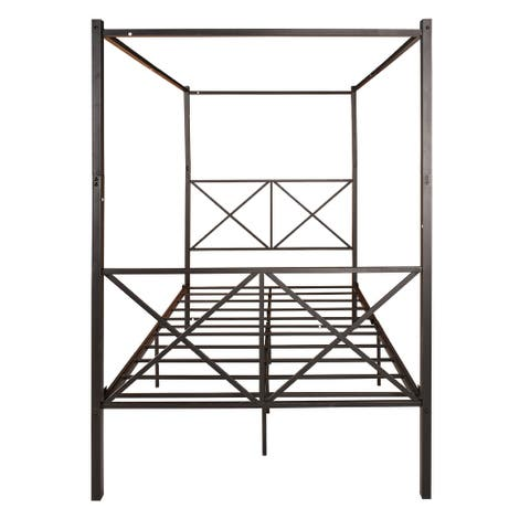 Black Full Size Metal Canopy Platform Bed Frame