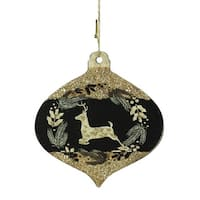 "4"" Gold and Black Woodland Reindeer Silhouette Onion Christmas Ornament"