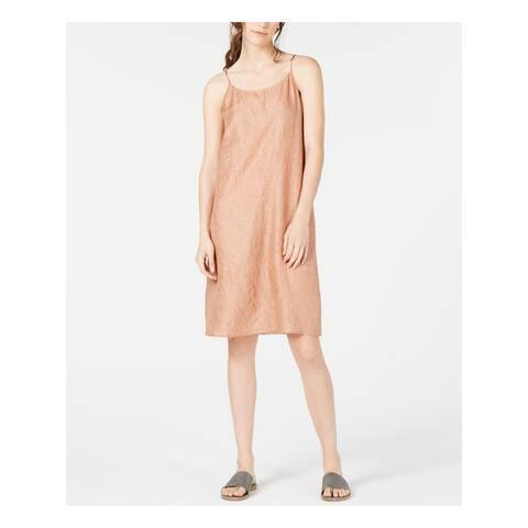 EILEEN FISHER Beige Spaghetti Strap Knee Length Shift Dress Size XL