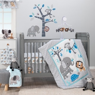Link to Bedtime Originals Jungle Fun Gray/Blue/White Elephant, Lion and Monkey 3-Piece Baby Nursery Crib Bedding Set Similar Items in Bedding Sets