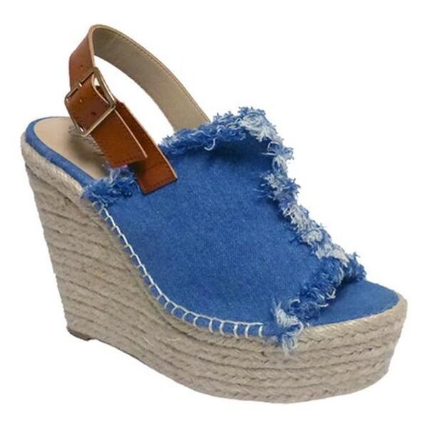 Penny Loves Kenny Women's Notch Platform Wedge Sandal Blue Denim Fabric