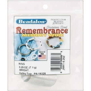 Remembrance Memory Wire Ring .62mm .25oz-Bright - 48 Coils - bright - 48 coils