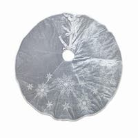 """Pack of 2 Gray and White Snowflake Designed Decorative Christmas Tree Skirt 48.5"""""""
