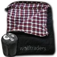 Wolftraders TwoWolves +0 Degree Fahrenheit 2-Person Premium Canvas Sleeping Bag, Black/Purple