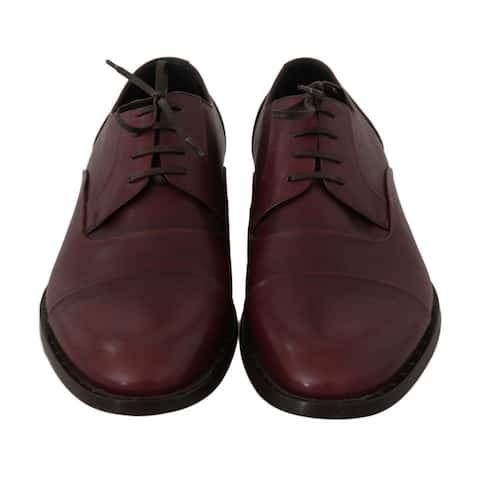 Dolce & Gabbana Red Bordeaux Leather Derby Formal Men's Shoes