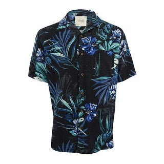 Tasso Elba Men's Retreat Tropical Print Shirt (XL, Black Combo) - black combo - XL