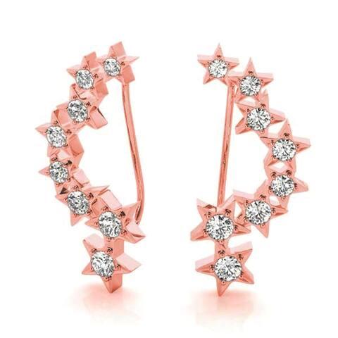 Amcor Design 14K Gold 0.21 CT Journey Ear Climbers Prong-Set Round Diamond Earrings