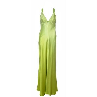 Aidan Mattox Niteline Green Ombre Charmeuse V-Front Gown - 10