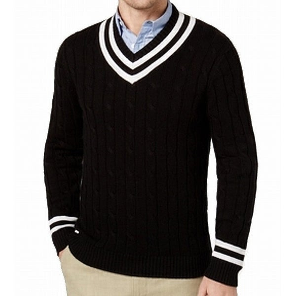 9cb6b1f410d7 Shop Club Room Black White Mens Size Medium M V-Neck Cricket Sweater - Free  Shipping On Orders Over $45 - Overstock - 28355137