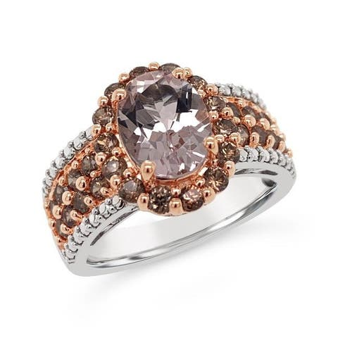 925 Sterling Silver 2 3/4 Carat Genuine Morganite & Brown Zircon Cluster Wedding Ring (Size : 5)