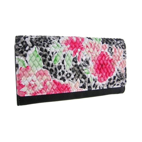 Pink Floral/Snow Leopard Textured Wallet Black