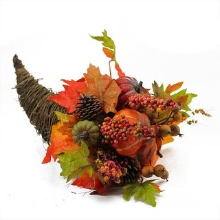 "16"" Autumn Harvest Pumpkin and Maple Leaf Grapevine Cornucopia Thanksgiving Decoration"