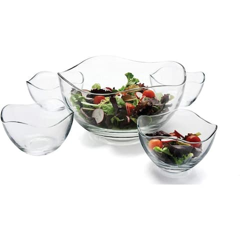 Circleware Gala 5-Piece Serving Glass Bowl Set, Wavy Design, 10 Inches, Clear