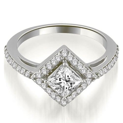 0.90 cttw. 14K White Gold Halo Princess Cut Diamond Engagement Ring