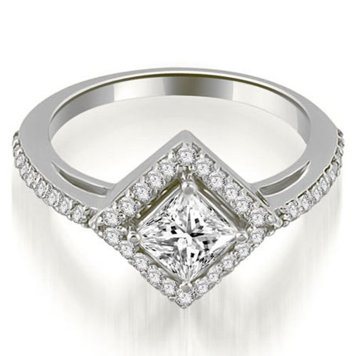1.15 cttw. 14K White Gold Halo Princess Cut Diamond Engagement Ring