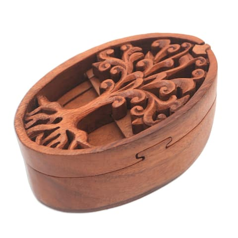 "Handmade Tree Oval Wood Puzzle Box (Indonesia) - 2.6"" H x 3.1"" W x 5.5"" D"