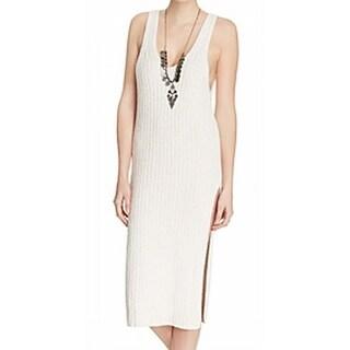 Free People NEW White Ivory Women Medium M Emmy Ribbed Sweater Dress