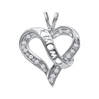 """Mom"" Heart Pendant 10K White-gold With Diamonds 0.125Ctw By MidwestJewellery - N/A"