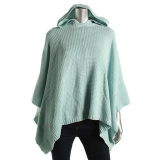 Two by Vince Camuto Womens Poncho Hooded Waffle Knit
