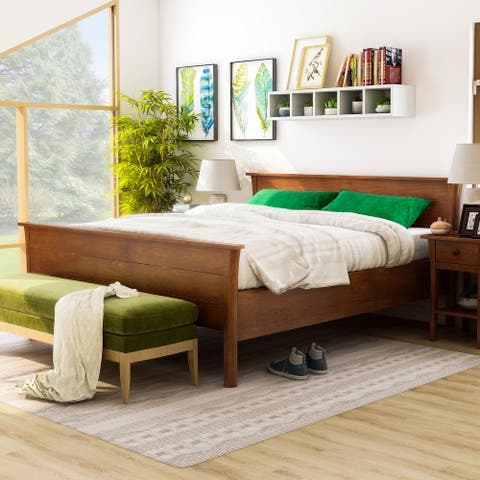 Furniture of America Nisa Transitional Cherry Solid Wood Platform Bed