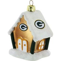 "Green Bay Packers 3.5"" Blown Glass Gingerbread House Ornament"