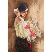 "Gold Collection Woman W/Bouquet Counted Cross Stitch Kit-11""X15"" 18 Count"