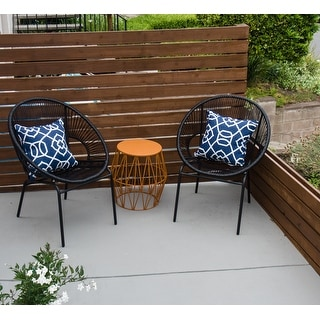 Corvus Sarcelles Woven Wicker Patio Chairs (Set of 2)