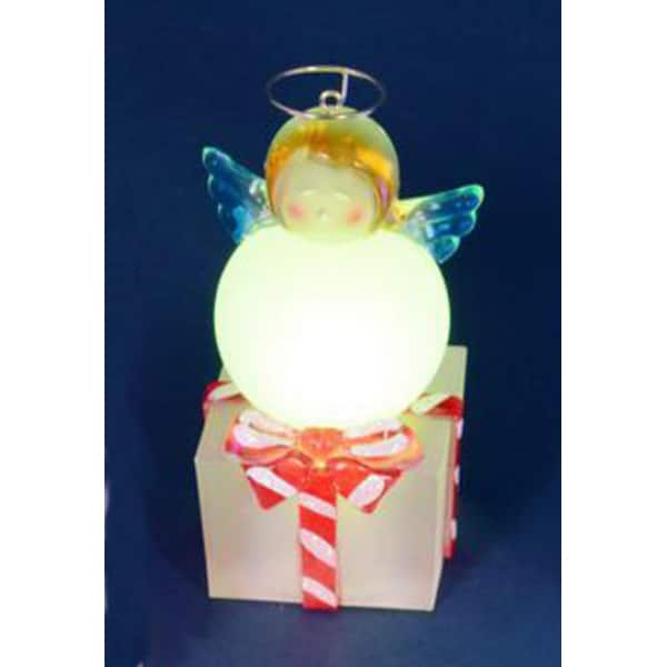 "4"" LED Lighted Color-Changing Angel on Present Table Top Christmas Decoration"