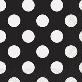"Midnight Black Decorative Dots - Luncheon Napkins 6.5""X6.5"" 16/Pkg"