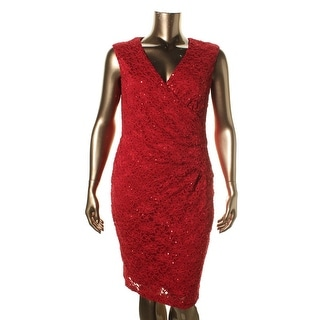Connected Apparel Womens Above Knee Sequined Cocktail Dress