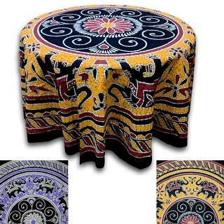 Elephant Batik Cotton Tablecloth Round 90 inches Gold Wine Red Purple Gray Black - 90 Inches
