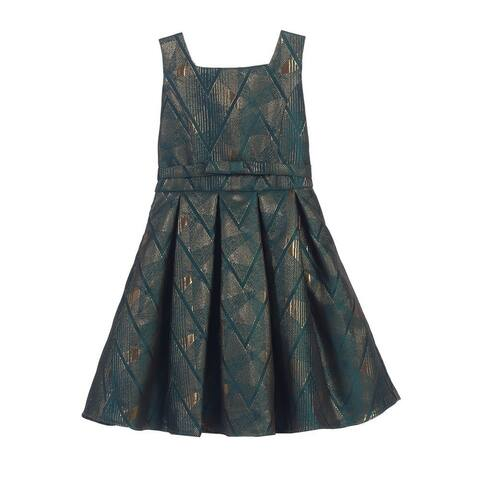 Sweet Kids Girls Emerald Gold Geometric Jacquard Occasion Dress 7-16