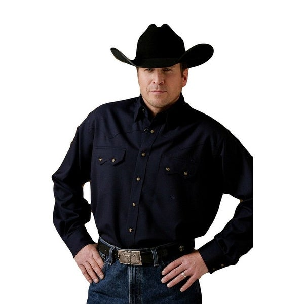 db0239cf Shop Miller Ranch Western Shirt Mens Long Sleeve Solid Wool Navy - Free  Shipping Today - Overstock - 25754771