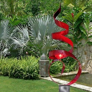 Statements2000 Large Abstract Metal Garden Sculpture Modern Yard Art Decor by Jon Allen - Red Sea Breeze with Silver Base