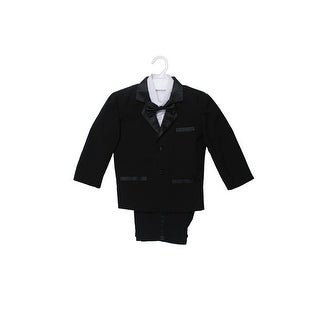 Wallao Boys Tuxedo Dresswear Set with Bow Tie Black