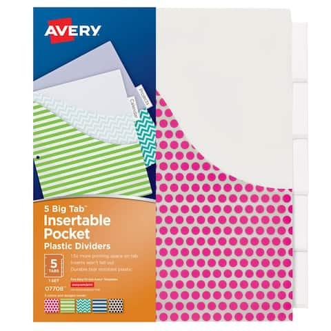 Avery avery big tab 5 tab pocket 07708