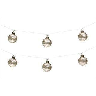 Pack of 6 Gray Glass Ball Decorative Christmas Ornaments with LED Light Strings 10.5L