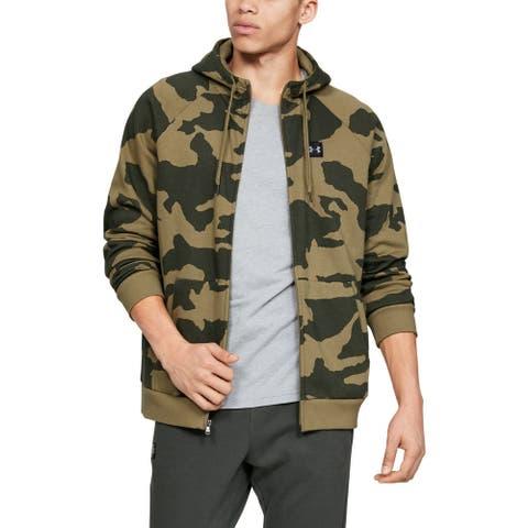 Under Armour Mens Sweater Green Size XL Camo Zip Front Rival Fleece Hood