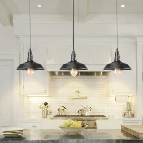 "Industrial Farmhouse Antique 1-Light Black Pot Ceiling Pendant Kitchen Island Light - L10.2""xW10.2""xH9.05"""