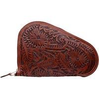 3D Western Pistol Case Padded Leather Floral Zipper