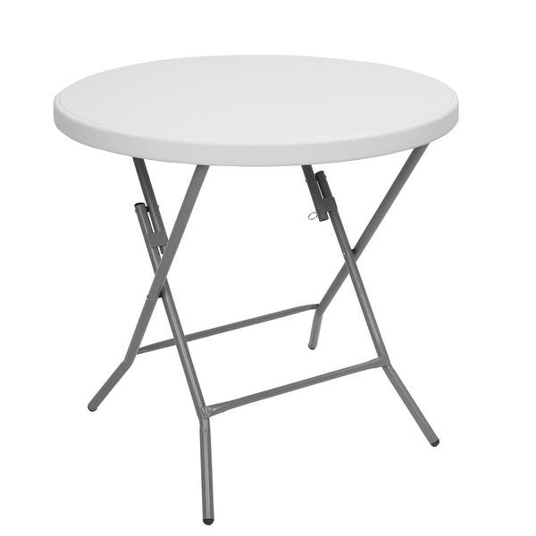 Outdoor Round Plastic Foldable Table 48-inch White Folding Utility Diner Table