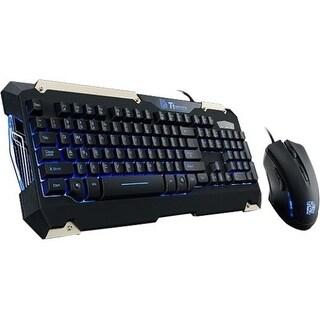 Tt eSPORTS KB-CMC-PLBLUS-01 Tt eSPORTS Commander Gaming Gear Combo - USB Cable Keyboard - Black - USB Cable Mouse - 2400 dpi -