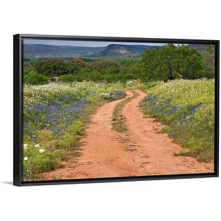 """Wildflowers at dirt road in Texas Hill Country"" Black Float Frame Canvas Art"