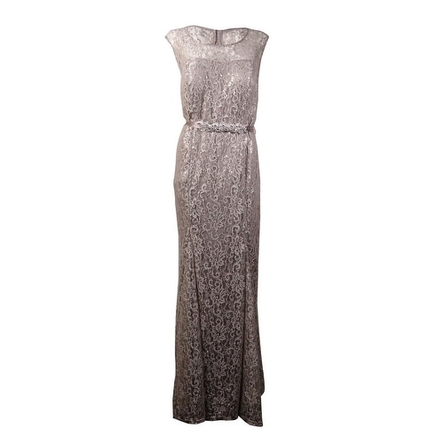 3e16882a52c Shop Betsy   Adam Women s Beaded Belt Metallic Lace Gown - Silver - On Sale  - Free Shipping Today - Overstock - 15013985