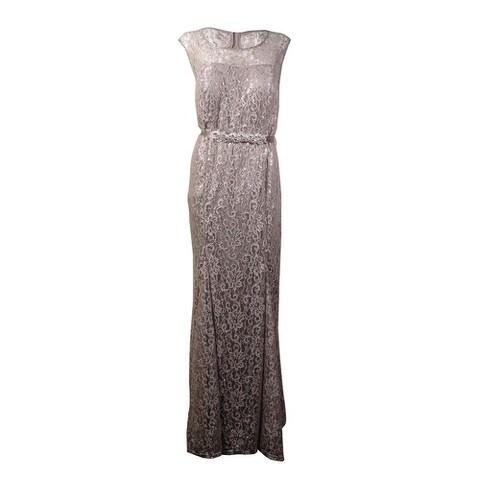 Betsy & Adam Women's Beaded Belt Metallic Lace Gown - Silver