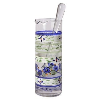 Blue Floral Hand Painted Glass Martini Pitcher with Stirring Rod - 40 Ounces